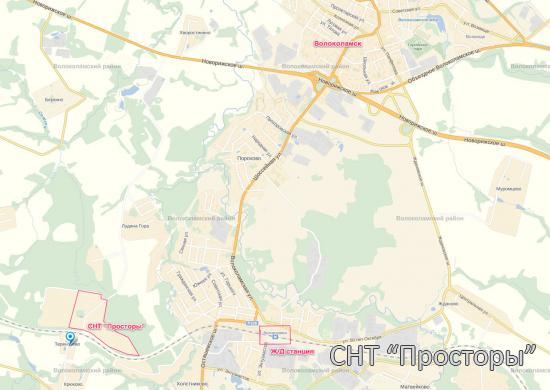"""Карта местности СНТ """"Просторы"""""""